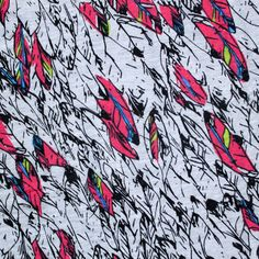 Bright Feathers on Heather Gray Cotton Jersey Knit Fabric