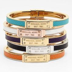 Leather Hinged Bangle by Michael Kors - $110