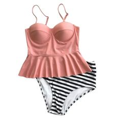 Cupshe Women's Falbala Top Bottom Bikini Set High-waisted Swimsuits Beach Tankini