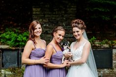Lake Placid Lodge bride with her Bridesmaids and cute dog on wedding day | wedding dog photographer