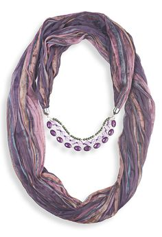 Watercolor Stripe Infinity Jewelry Scarf | Plus Size Scarves, Hats & Gloves | Avenue