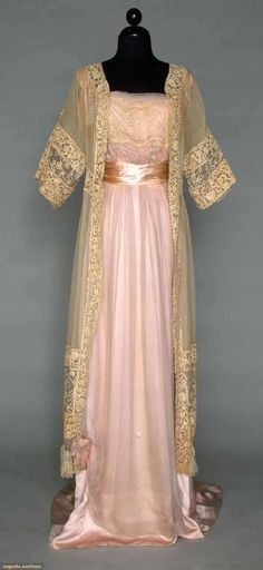 ~Silk and Lace Gown - c. 1912 - Chiffon with Milanese tape lace bodice band,  Coat of cream Gauze with hand made Irish Crochet~