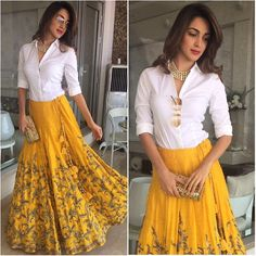 Yellow Lehenga Designs at Mirraw. Indian Gowns Dresses, Indian Fashion Dresses, Indian Designer Outfits, Designer Dresses, Designer Sarees, India Fashion, Indian Skirt, Dress Indian Style, Lehenga Designs