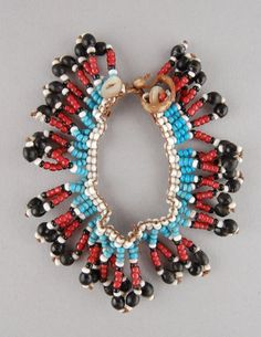 Personal ornament made of leather, beads (glass). Xhosa, How To Make Ornaments, British Museum, African Art, Glass Beads, Detail, Leather, Jewelry, Crystal Beads