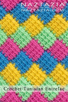 crochet stitches patterns The is the Crochet Tunisian Entrelac stitch pattern. This creates a wonderful diamond pattern that can be used for a blanket, scarf, bag, and more! Tunisian Crochet Patterns, Crochet Patterns For Beginners, Knitting Patterns, Knitting Tutorials, Lace Knitting, Finger Knitting, Diy Crochet, Hand Crochet, Crochet Granny