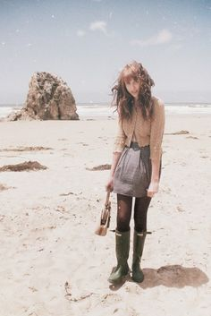 Sweater/skirt.....rubber boots? Never thought these could be pulled off with a normal outfit   CLICK THIS PIN if you want to learn how you can EARN MONEY while surfing on Pinterest