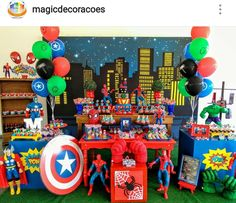 Superhero Birthday Party Dessert Table and Decor