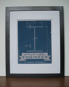 structural engineer: i know stress - modern, funny. $18.00, via Etsy.