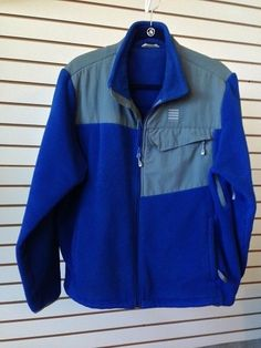 Lands End Mens Blue Winter Fleece Jacket Front Pockets Zipper Size Large 42-44  #LandsEnd #FleeceJacket