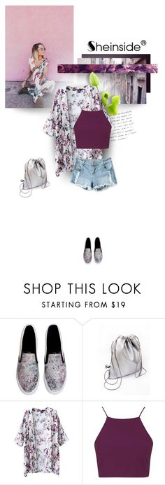 """""""Sheinside White Floral Kimono"""" by semibloom ❤ liked on Polyvore featuring Topshop and Sheinside"""