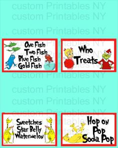 https://www.etsy.com/listing/185963597/dr-seuss-food-labels-food-placecards-dr? Dr Seuss Food Labels, Food placecards, dr seuss food buffet labels - cat in the hat, birthday party seuss, grinch, thing 1 and thing 2, horton, lorax, and any other characters you want!