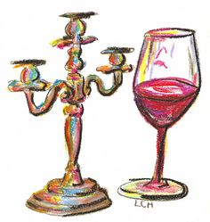 Candelabra and Wine Chalk Sketch - Tipsy Scribbles November 9, 2016