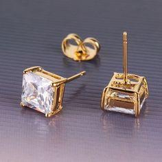 Wedding lady shining 24k yellow gold filled  princes white sapphire stud earring #Stud