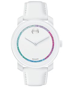Movado Watch, Unisex Swiss Bold White Leather Strap 42mm 3600180 - Women's Watches - Jewelry & Watches - Macy's