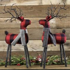 Standing Plaid Deer With Scarf, Set of 2