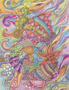 """""""Under the Sea"""" doodle for cover page on my Colouring Book"""