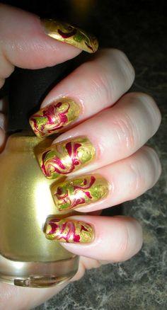 Fire Drag Marble Design Manicure - October 2012