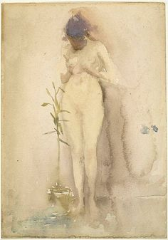 "dappledwithshadow: ""James Abbott McNeill Whistler American, Forget-Me-Not, circa 1885 "" James Abbott Mcneill Whistler, Watercolor And Ink, Watercolor Paintings, Painting & Drawing, Figure Painting, Figure Drawing, Art For Art Sake, Life Drawing, Artist Art"