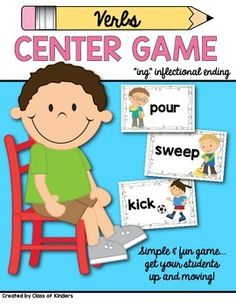 Inflectional ending game with verbs! Perfect for Kindergarten and First Grade. Center work, whole group or small groups too! Simple, fun and interactive.  $