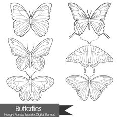 Butterfly digital stamp, butterflies digital stamps, commercial use, digital… Butterfly Coloring Page, Butterfly Drawing, Butterfly Line Art, Butterfly Stencil, Embroidery Patterns, Hand Embroidery, Machine Embroidery Designs, Coloring Books, Coloring Pages