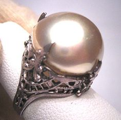 Antique Majorca Pearl Ring Victorian Art Deco Wedding 1920.  Antique jewelry, vintage jewelry, retro art deco, victorian jewelry, edwardian era, sterling silver, pearl ring, filigree ring, antique setting, vintage setting, french fleur de lis, wedding ring, bridal set, engagement ring.  Offered by Aawsomblei antique jewelry.