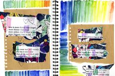 Jules&Tea: E.E Cummings  #getmessyartjournal #getmessyprompts #collage #love #sketchbook #stitch #watercolour #pattern #rainbow