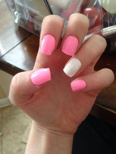 Pink fake nails
