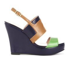 Slingback wedge sandal with buckle closure and colorblock detail