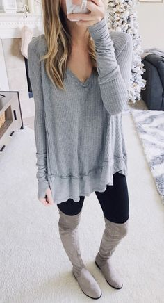 #winter #outfits gray v-neck sweater. Click To Shop This Look.