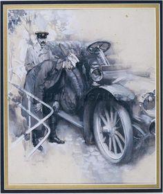 'Edwardian motorists' by C. Cuneo, 1909