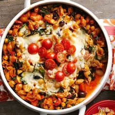 Who knew caprese salad could become the ultimate comfort food? Pasta, chickpeas, and spinach support classic caprese ingredients in this warm and gooey casserole.