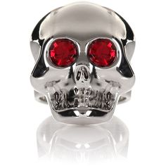 Moschino Skull Ring ($170) ❤ liked on Polyvore featuring jewelry, rings, accessories, oversize rings, red ring, punk jewelry, skull ring and adjustable skull ring