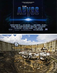 The Abyss: The underwater scenes in this gripping over-two-hour science-fiction thriller were filmed at the Cherokee Nuclear Power Plant in South Carolina. Millions of gallons of water were brought in to fill existing unfinished structures on the site and The Abyss thus broke the record for the largest underwater movie set in the world.