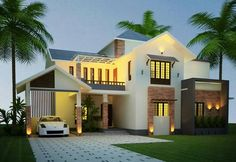 You can see the attention to detail that was taken when creating the design and selecting Online Architecture, Architecture Magazines, Architecture Design, Bungalow House Design, Bungalow Ideas, 4 Bedroom House Plans, House Roof, House 2, Kerala House Design