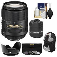 AmazonSmile : Nikon 18-300mm f/3.5-6.3G VR DX ED AF-S Nikkor-Zoom Lens with Backpack + 3 UV/CPL/ND8 Filters + Hood + Accessory Kit : Camera & Photo