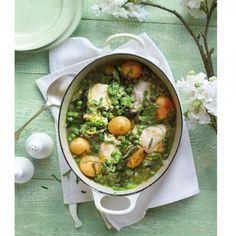 Spring chicken casserole - chicken casserole in pan