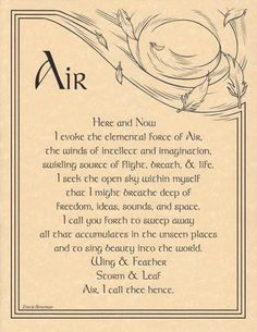 Since I am an Air sign, this inspires me.  Wiccan Air chant