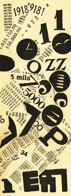 """FILIPPO TOMMASO MARINETTI. """"Parole in Libertá"""". 1919 - Em 1909 o poeta Filippo Marinetti ficou conhecido pela publicação do Manifesto Futurista na página da frente do jornal Le Figaro. Tinha uma sensibilidade estética para todas as artes, desde artes plásticas até às artes gráficas. Nos anos 10 os movimentos de vanguarda dissiparam-se para toda a Europa, Rússia e Estados Unidos da América."""