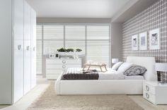 High end bedroom set ROKSANA with chrome handles and high white gloss finish