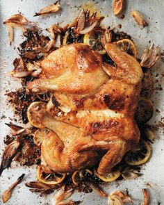Roast Spatchcocked Lemon Chicken Recipe | Martha Stewart (I spatchcocked a turkey last Thanksgiving and will NEVER cook one any other way again ~ just make sure you have poultry or heavy-duty kitchen shears)
