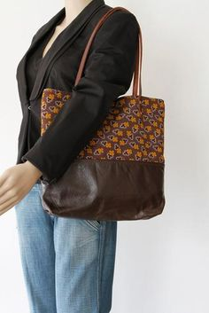 Brown Leather Tote Bag with Brown Cotton Print - on model