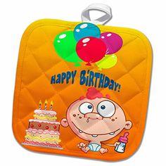 1300e5f6b74a 3dRose Edmond Hogge Jr Birthdays - Birthday Boy and Cake - 8x8 Potholder  (phl 54624 1)