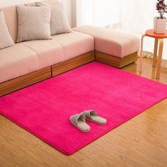 Ustide Hot Pink Carpet For Girls Coral Fleece Rug Soft Memory Foam Rugs Set Modern Non-slip Area Carpet for Bedroom/Livingroom 4X5ft *** For more information, visit image link. (This is an affiliate link and I receive a commission for the sales)