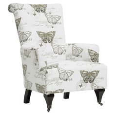 Linen-upholstered arm chair with a stamped butterfly motif and castered front feet.   Product: ChairConstruction Ma...