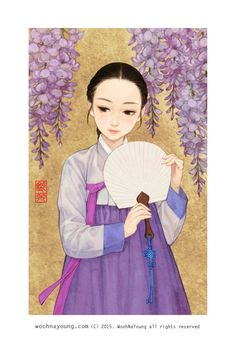 한복 Hanbok : Korean traditional clothes[dress] | WOOHNAYOUNG[흑요석] — Wisteria flower 등나무꽃 소녀 Digital drawing, 2015...