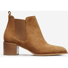 Everlane Suede Women's Heeled Booties (3.890 ARS) ❤ liked on Polyvore featuring shoes, boots, ankle booties, everlane, chestnut boots, suede leather boots, suede boots and suede ankle booties