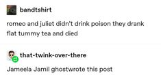 """""""Romeo and Juliet didn't drink poison, they drank flat tummy tea and died. Tumblr Stuff, Funny Tumblr Posts, Healthy Meme, Tummy Tea, Text Posts, Writing Prompts, Funny Memes, 9gag Funny, Memes Humor"""