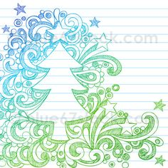 Illustration about Vector Illustration- Hand-Drawn Sketchy Christmas Tree Notebook Doodles on Lined Notebook Paper Background. Illustration of scribble, ornaments, festive - 11859091 Doodle Art, Tangle Doodle, Zen Doodle, Doodle Drawings, Doodle Patterns, Zentangle Patterns, Christmas Doodles, Christmas Tree, Christmas Ornament