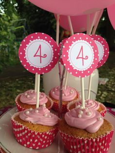Pink polka dot cup cake toppers