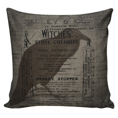 Halloween Pillow Vintage French Pillow Halloween Witches Raven Antique Document Burlap Cotton Throw Pillow HA-16 by ElliottHeathDesigns on Etsy https://www.etsy.com/listing/157205913/halloween-pillow-vintage-french-pillow